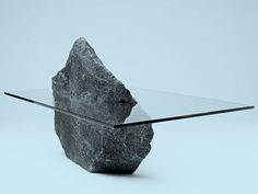 [y_h_b_t_i] | Ohh man the ideas this gives me #interior #stone #rock #glass #coffee #table