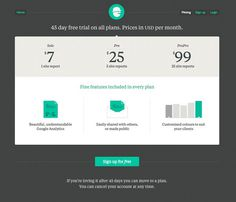 Pricing Page from Handsome Stats › PatternTap #layout