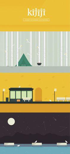 Kijiji Mobile #bus #canada #british #vector #pidgeon #design #camping #kijiji #illustration #mobile #stop #monochromatic #columbia