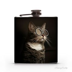 Kitty with Sunglasses 6oz Hip Flask #steel #flask #stainless #cats #kitty #flasks #6oz #hip