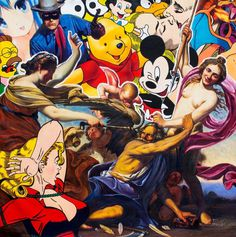 """#pop #contemporary #painting #mickey Death Of Father Time 60"""" x 60"""" Oil on Canvas - St. Art Gallery"""