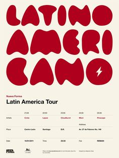 Nueva Forma Latin America Tour Poster #graphic design #design #typography #creative #poster #tour #music #inspiration #grid system #american