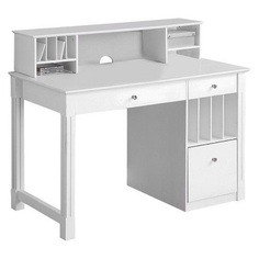 Home Office Deluxe White Wood Storage Computer Desk with Hutch - Saracina Home : Target