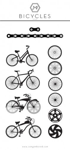 Bicycle Illustrations by James Viola #bikes #circle #white #bicycle #design #illustrations #black #and #logo