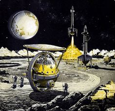 Frank Tinsley, Yellow Series « matmacquarrie.ca #illustration #retro #yellow #science fiction #spaceship #frank tinsley