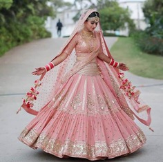 Semi light pink bridal lehenga