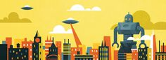 city robot v2.jpg #alien #robot #city #yellow #orange #saucer
