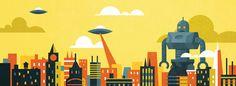 city robot v2.jpg #yellow #city #orange #robot #alien #saucer
