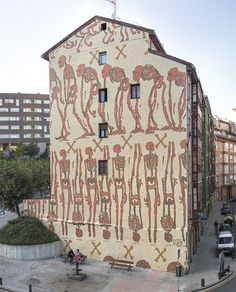 mural, Aryz, skeleton, building