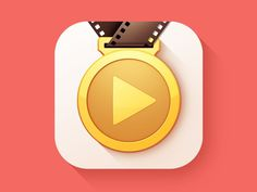 Coaching App Icon Design by http://ramotion.com #dribbble #competition #icon #ramotion #design #player #video #app #behance #play #gold #sport #medal #stripe
