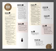 Bar menu on the Behance Network #icon #menu #liquor