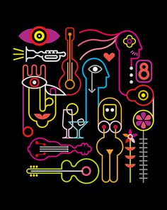 Abstract Neon Composition - vector illustration on black background. #erotic #glass #eye #arrow #music #violin #flower #concert #abstr #neon #abstract #guitar #trumpet #jazz #design #composition #eight #face #party #heart #head #light #naked #vector #woman #sign #body #black #people #night #art #cocktail #martini