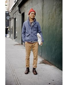 New York Street Style Photos by Ben Ferrari - Men's Street Style: Style: GQ #red #camel #street #fashion #blue #style
