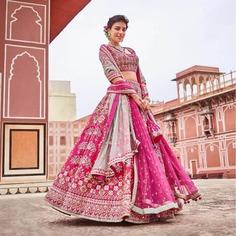 pink bridal lehenga embroidery