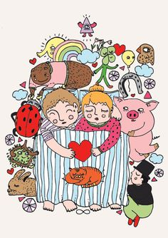 drawing #couple #happiness #illustration #bed #animals