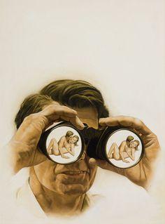 through the binoculars vintage pulp art by STANLEY BORACK #illustration #borack #vintage #pulp #binoculars #spy #voyeur #painting
