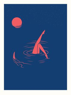Midnight Swim | Limited Edition Art Print | LA Graphic Artist