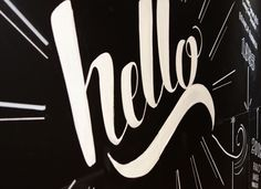 'Hello' chalkboard by Sophia Mary Mac #typography #type #lettering #handtype #handlettering #chalk #chalkboard #blackboard #layout #design