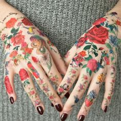 #tattoo #hands #flowers #roses #snakes
