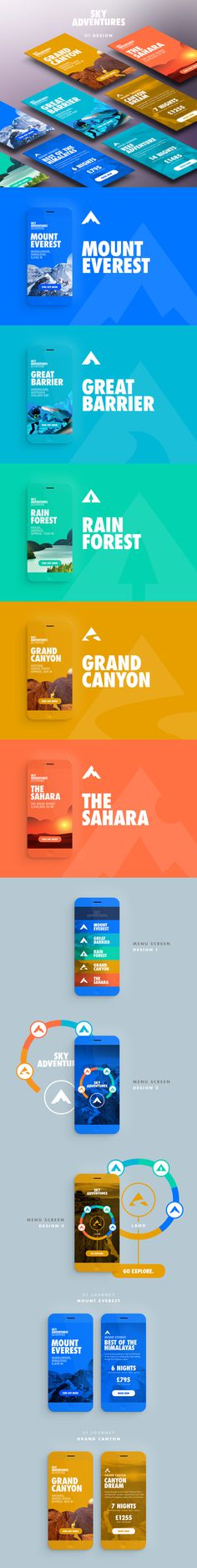 color, adventure, mobile design, slides