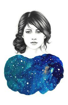 THE NEBULA SERIES Amanda Mocci #paint #blue #sketch #portrait #pencil #amanda mocci