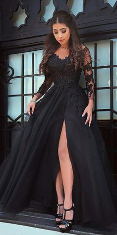 gothic wedding dresses a line sweetheart lace illusion sleeves high slit said mhamad