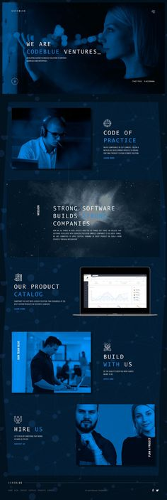 Code Blue Ventures - Mindsparkle Mag - Code Blue Ventures is a beautiful minimal website in blue colors showcasing technology services with