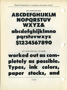 Futura Bold extra bold type specimen