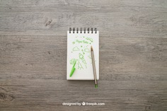 Notepad with pencil Free Psd. See more inspiration related to Mockup, Paper, Doodle, Pencil, Pen, Mock up, Notes, Notepad, Up, Note paper, Objects, Things and Mock on Freepik.