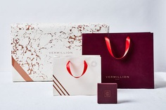 "Branding & Packaging for Vermillion by Stitch Design Co. ""The clean lines and geometric accents used in the Vermillion mark extend well beyond the logo and are represented throughout the print identity and packaging system. Using a bold palette,..."