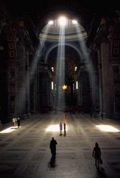 CJWHO ™ (Three shafts of sunlight illuminate the basilica...) #history #rome #design #interiors #peters #st #architecture #basilica #vatican #light