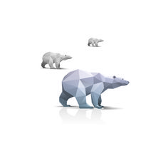 Bear origami animals vector #bear #triangle