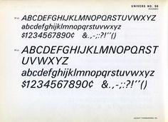 Univers 56 type specimen #type #specimen #univers