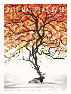 Dave Mathews Band tour poster #poster #elk #autumn #band #tree #leaves