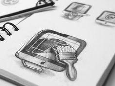 Mac App Icon Sketches #process #icon #macintosh #ramotion #design #application #icons #appstore #macos #app #pencil #sketch #mac