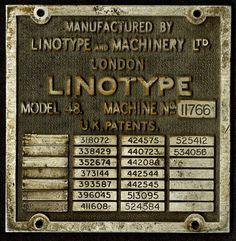 #linotype #vintage #nameplate