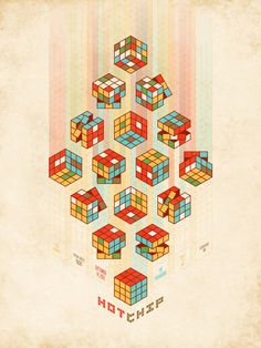 Amazing Hot Chip poster from DKNG. #isometric #gig #design #screenprint #rubiks #posters #poster #overprint #cube