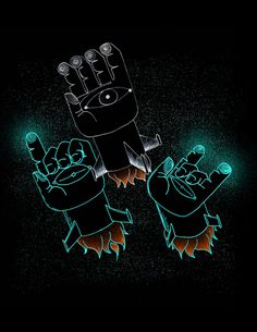 palm pilots – illustration by Ryan Crane #black #illustration #rocket #hands #neon