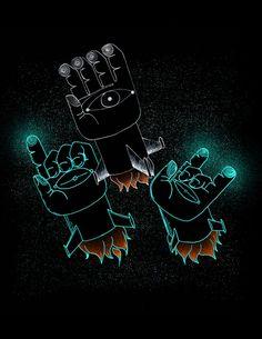 palm pilots – illustration by Ryan Crane #illustration #black #neon #hands #rocket