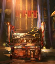 Bioshock: Infinite Concept Art by Ben Lo #bioshock #shop #scissors #illustration #concept #vintage #painting #art #barbers #light #shadow