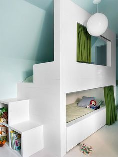 Secret space bunk bed in an attic kid's room #interior #design #decor #deco #decoration