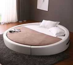 Opus Modern Round Leather Bed #tech #flow #gadget #gift #ideas #cool