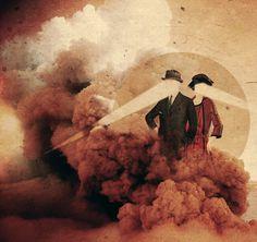 Cluedo Julien Pacaud • Illustration • Perpendicular Dreams #cloud #retro #illustration #volcano #collage #light
