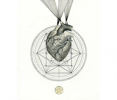 the sacred heart - optimystic arts >> fine arts + healing arts #heart #paper #collage #geometry