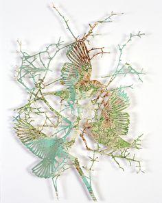 Flocks of Birds Laser Cut from Maps by Claire Brewster sculpture paper birds #sculpture #paper #art