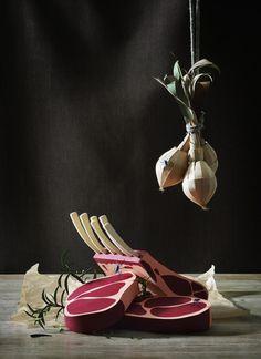 Paper illustration by Fideli Sundvist #design #meat #onion #paper craft