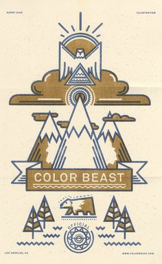Self Promo//colorbeast #riso #print #landscape #risograph #eagle #french #symmetry #bear #paper