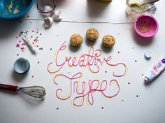 THE CREATIVE TYPE #script #handlettering #foodtype #diy #food #baking #type