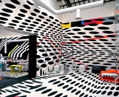 z x y:Cafeteria, La Biennale di Venezia, Italy, byTobias Rehberger #white #color #shapes #black #space #vinyl