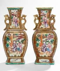 Pair of baluster vases in the colors of the 'Mandarin Palette' #Sets #Tea sets #Porcelain sets #Antique plates #Plates #Wall plates #Figures #Porcelain figurines #porcelain